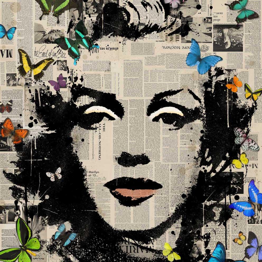 veebee art design veebee marilyn monroe butterflies 2. Black Bedroom Furniture Sets. Home Design Ideas