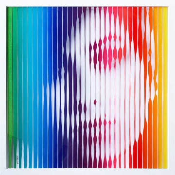 Amy Winehouse (Rainbow) Original Painting on Glass