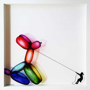 Balloon Dog Painting on Glass