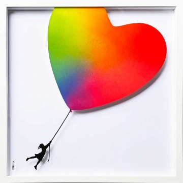 Balloon Heart Rainbow Original Painting on Glass