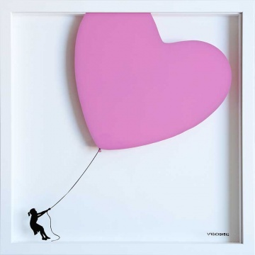 Balloon Heart on Glass DUSTY PINK