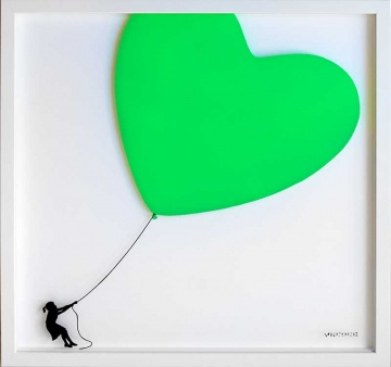 Balloon Heart on Glass (Fluorescent Green)