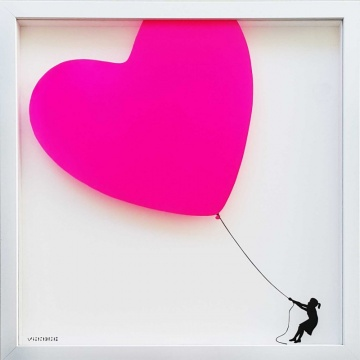 Balloon Heart on Glass HOT PINK