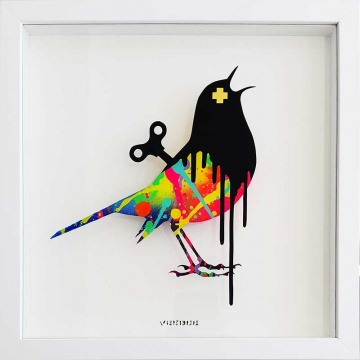 Clockwork Bird Original on Glass (SMALL)