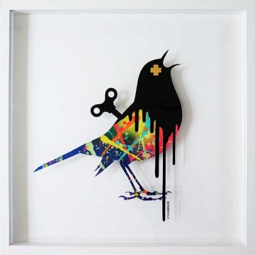 Clockwork Bird Original Painting on Glass