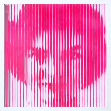 Jackie O sparkling hot pink original painting on glass