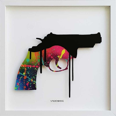 Revolver (Rainbow) Original Painting on Glass