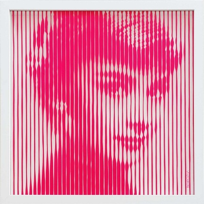Audrey Hepburn Hot Pink on Glass