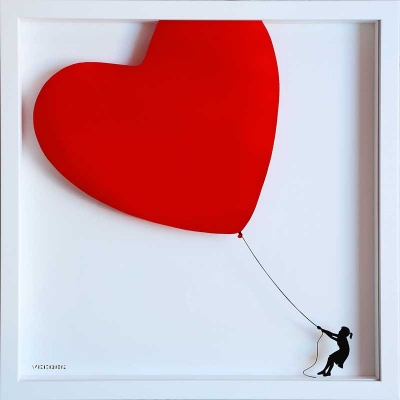 Balloon Heart on Glass RED