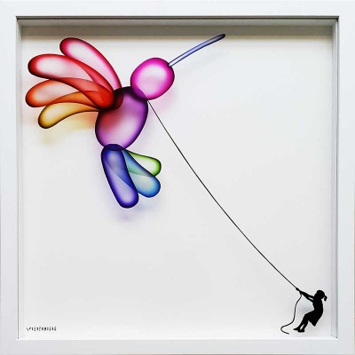 Balloon Hummingbird on Glass - Limited Edition of 10