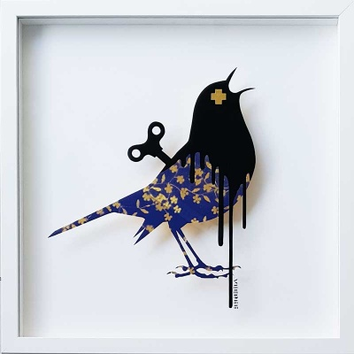 Clockwork Bird Royal Blue-Gold Original Painting on Glass