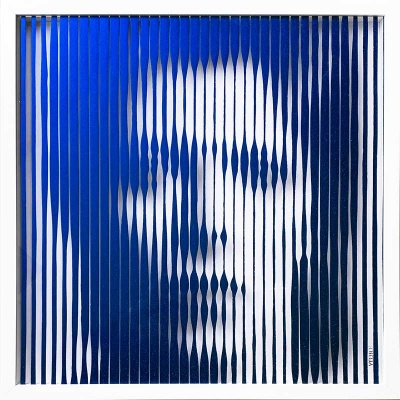 David Bowie Electric Blue colour changing original Painting on Glass