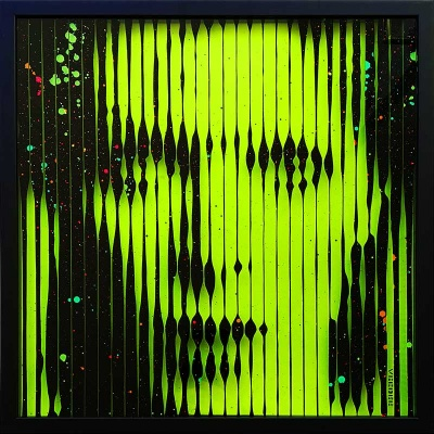 David Bowie Glow in the Dark + UV Reactive Original Painting on glass
