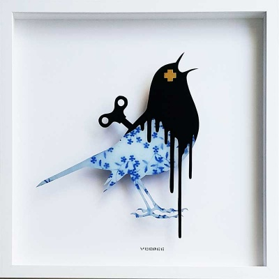 Clockwork Bird Delft China Original Painting on Glass