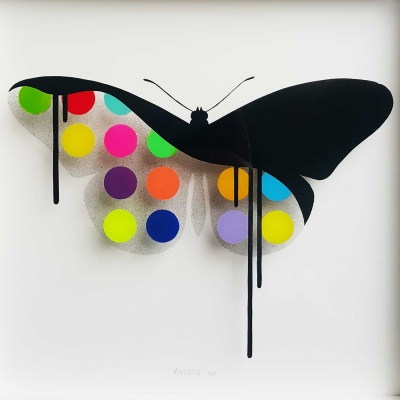 ORIGINAL - Glass Butterfly: SMOKE 34x34 cm