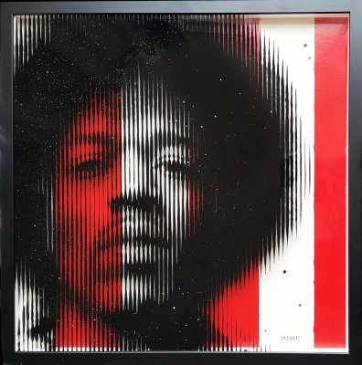ORIGINAL On Glass Jimi Hendrix RED